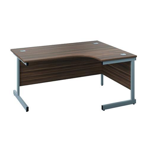 Jemini Right Hand Radial Desk 1200x1200mm Dark Walnut/Silver KF817094
