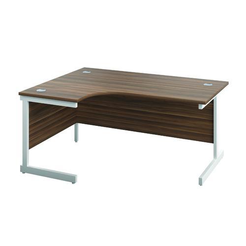 Jemini Left Hand Radial Desk 1200x1200mm Dark Walnut/White KF817156