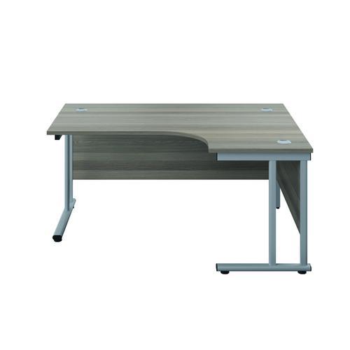Jemini Double Upright Right Hand Radial Cantilever Desk 1200x1200mm Grey Oak/Silver KF817538