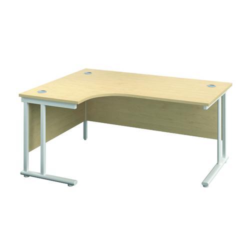 Jemini Double Upright Left Hand Radial Cantilever Desk 1200x1200mm Maple/White KF817620