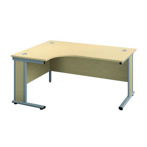 Jemini Double Upright Wooden Insert Left Hand Radial Desk 1200x1200mm Maple/Silver KF817743
