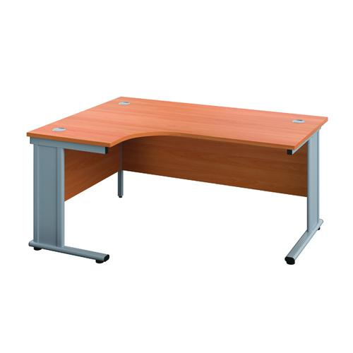 Jemini Cable Managed Left Hand Radial Desk 1200 Beech/Silver KF817941