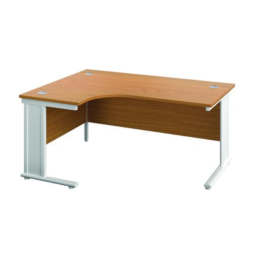 Jemini Cable Managed Left Hand Radial Desk 1200 Nova Oak/White KF818084