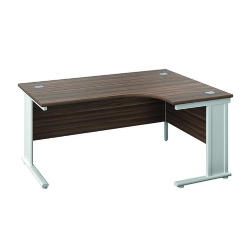 Jemini Cable Managed Right Hand Radial Desk 1200 Dark Walnut/White KF818183