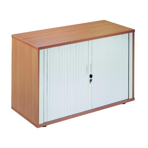 Jemini Side Opening Tambour Cupboard Desk High Nova Oak KF818535