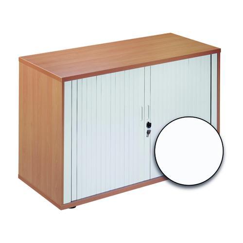 Jemini Side Opening Tambour Cupboard Desk High White KF818542