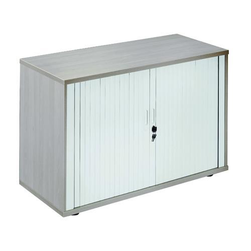 Jemini Side Opening Tambour Cupboard Desk High Grey Oak KF818559