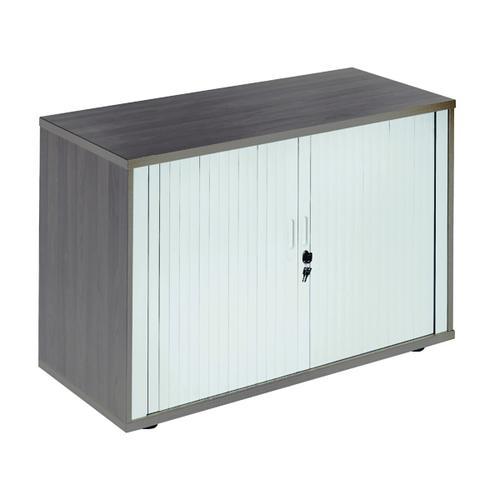Jemini Side Opening Tambour Cupboard Desk High Dark Walnut KF818566