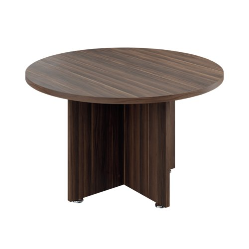 Avior Executive Circular Meeting Table 1200mm Dark Walnut TR1200MTDW