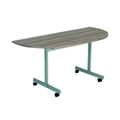 Jemini D-End Tilt Table 1400x700mm Dark Walnut/Silver OETT1470DENDSVDW