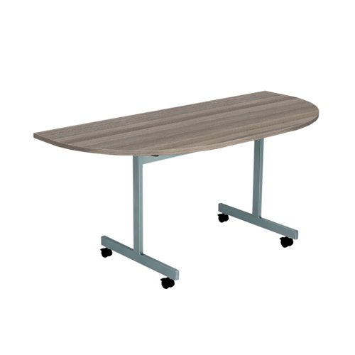 Jemini D-End Tilt Table 1400 x 700mm Grey Oak/Silver KF822431