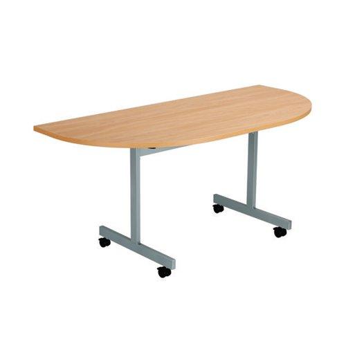 Jemini D-End Tilt Table 1600 x 800mm Beech/Silver OETT1680DENDSVBE2