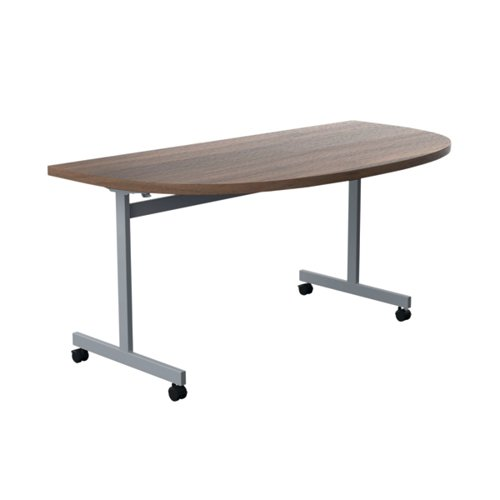 Jemini D-End Tilt Table 1600x800mm Dark Walnut/Silver OETT1680DENDSVDW