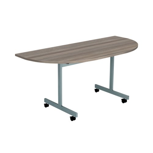 Jemini D-End Tilt Table 1600 x 800mm Grey Oak/Silver KF822493