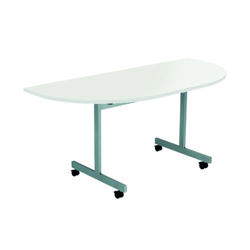 Jemini D-End Tilt Table 1600 x 800mm White/Silver KF822523