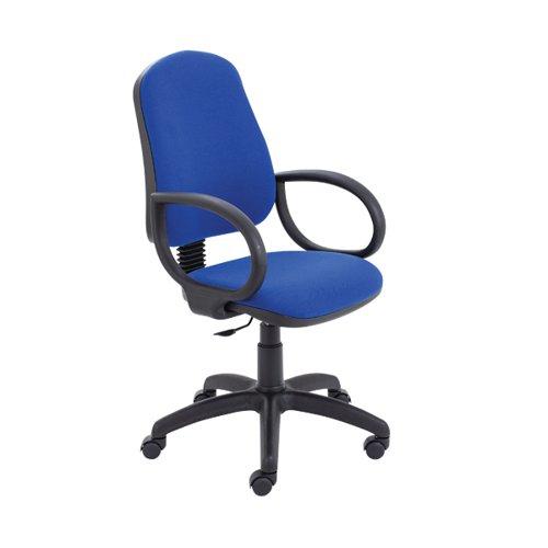 Jemini Teme Medium Back Chair with Fixed Arms 640x640x1010-1140mm Royal Blue KF822745