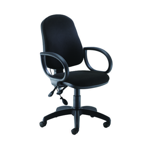 Jemini Intro High Back Posture Chair Fixed Arms Black KF822776