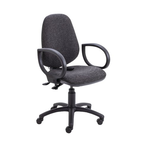 Jemini Intro High Back Posture Chair Fixed Arms Charcoal KF822783