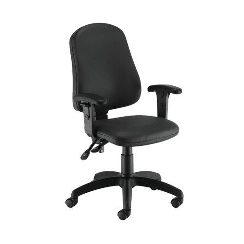 First Calypso Operator Chair with Adjustable Arms 640x640x985-1175mm Polyurethane Black KF822882
