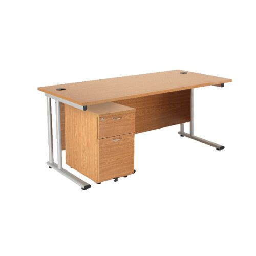 First Rectangular Desk and Pedestal Bundle 1600mm and 2 Drawer Under Desk Pedestal Oak KF838156