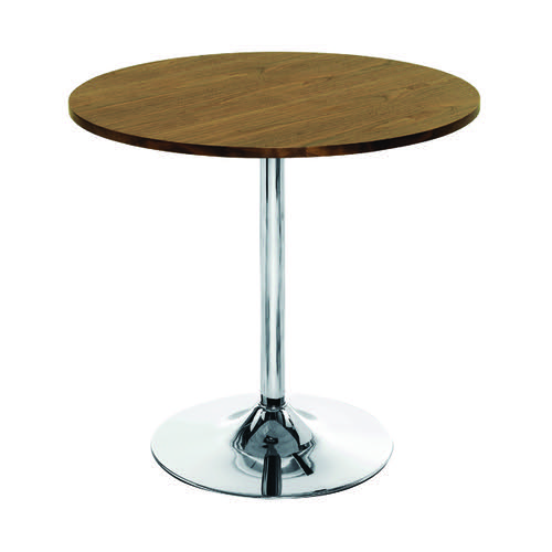 Jemini Walnut/Chrome 800mm Small Bistro Trumpet Table KF838318