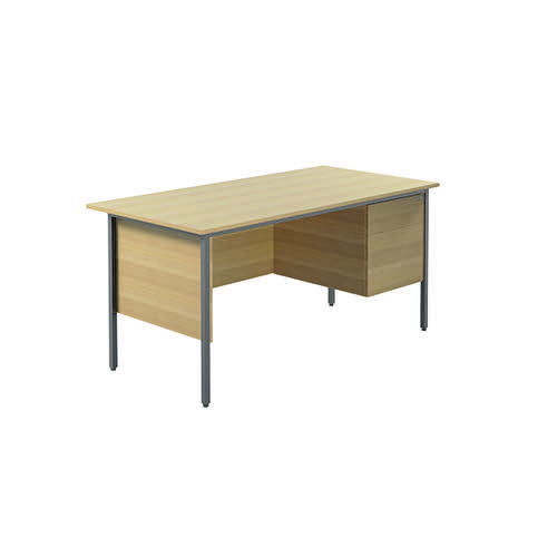 Serrion Ferrera Oak 1500mm Four Leg Desk with Two Drawer Pedestal KF838376