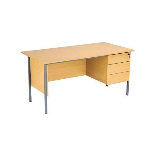 Serrion Ferrera Oak 1500mm Four Leg Desk with Three Drawer Pedestal KF838378