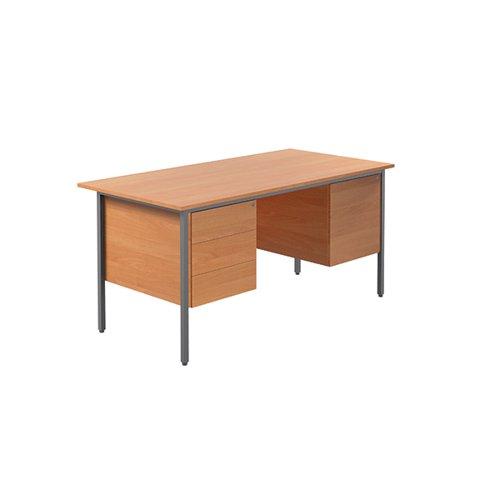 Serrion Bavarian Beech 1500mm Four Leg Desk with Double Pedestal KF838379