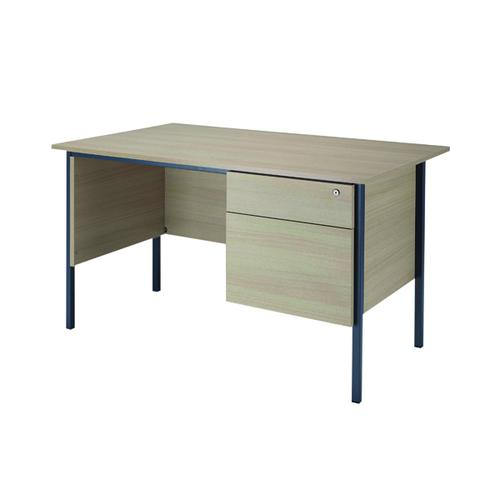 Serrion Warm Maple 1200mm 4 Leg Desk With 2 Drawer