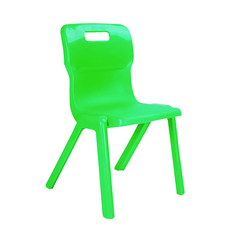 Titan One Piece Classroom Chair 435x384x600mm Green (Pack of 10) KF838710