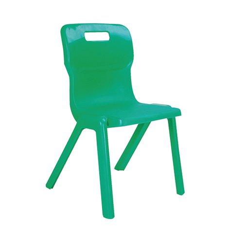 Titan One Piece Classroom Chair 432x407x690mm Green (Pack of 10) KF838715
