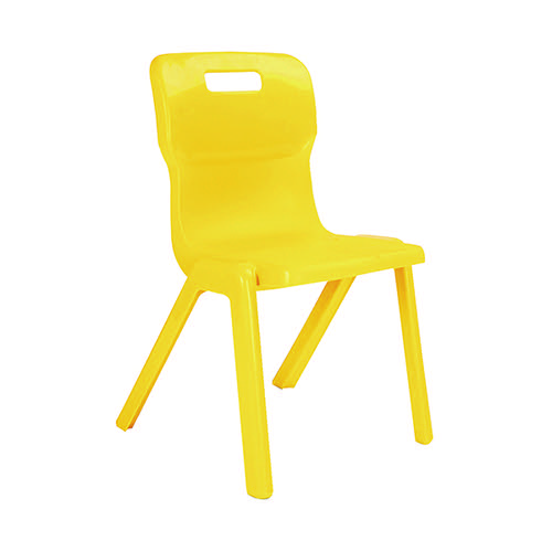 Titan One Piece Classroom Chair 363x343x563mm Yellow (Pack of 30) KF838732