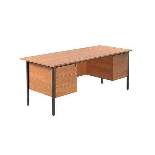 Serrion Rectangular Double Pedestal 4 Leg Desk 1800x750x730mm Bavarian Beech KF838755