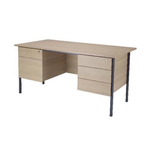 Serrion Warm Maple 1800mm 4 Leg Double Pedestal Desk