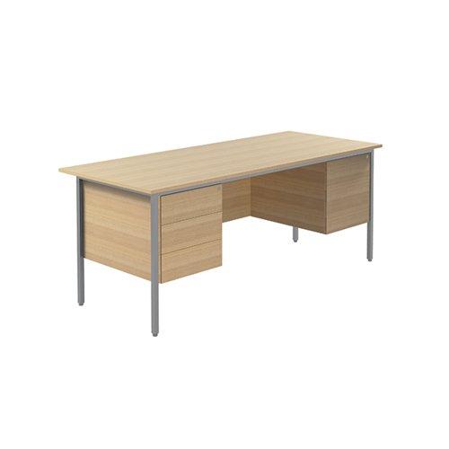 Serrion 4 Leg Double Pedestal Desk 1800mm Ferrera Oak KF838777