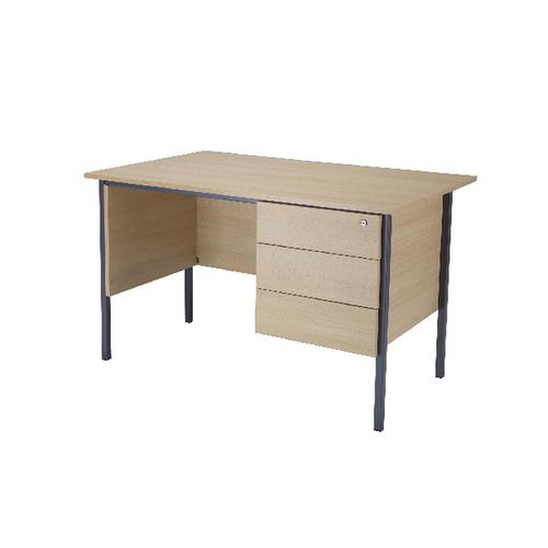 Serrion Warm Maple 1800mm 4 Leg Desk with 3 Drawer Pedestal KF838815