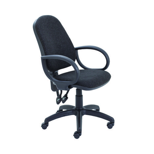 First High Back Operators Chair Charcoal with Fixed Arms KF839242