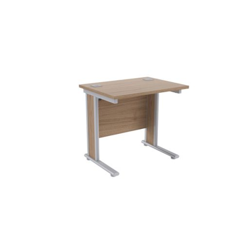 Jemini Grey Oak/Silver 800mm Rectangular Desk KF839522