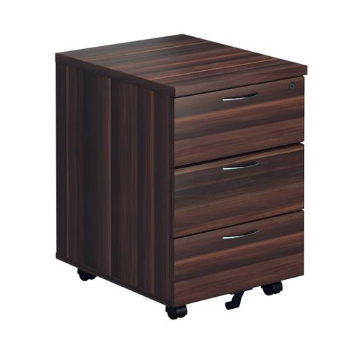 First Mobile Pedestal 3 Drawer Dark Walnut FRTESMP3DW