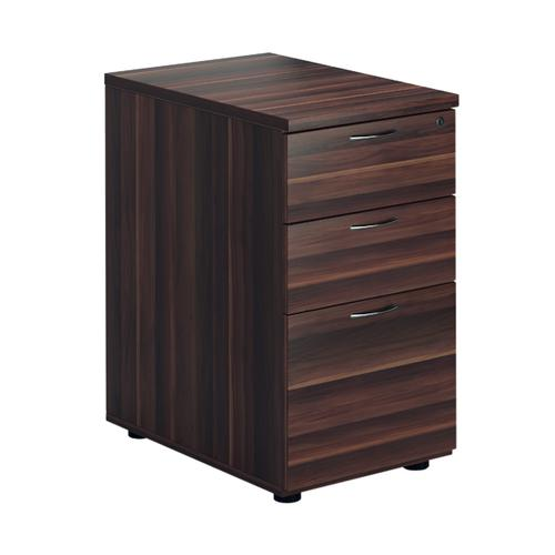 First Desk High Pedestal 3 Drawer 600mm Deep Dark Walnut FRTESDHP3DW