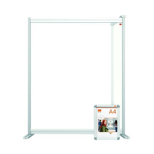 Nobo Modular Desk Divider Screen Extension Acrylic 800x50x1000mm Clear KF90379