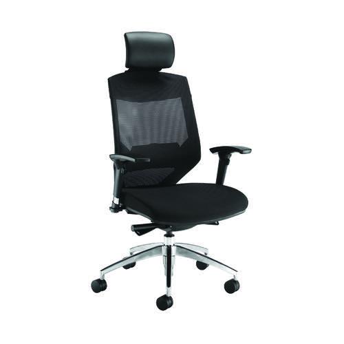 Arista Lotus Mesh High Back Chair With Headrest Black KF90681