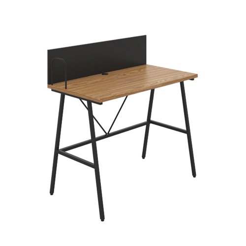 Jemini Soho Desk with Backboard Oak/Black Leg KF90778