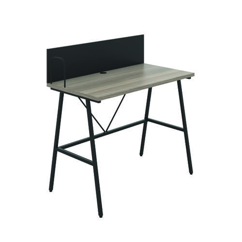 Jemini Soho Desk with Backboard Grey Oak/Black Leg KF90779