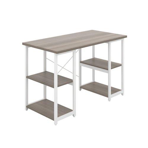 Jemini Soho Desk 4 Straight Shelves 1200x600x770mm Grey Oak/White KF90783