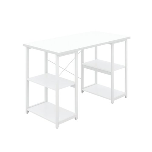 Jemini Soho Desk with Straight Shelves White/White Leg KF90784