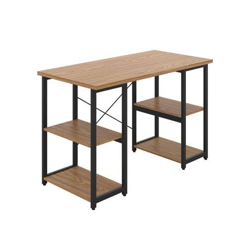 Jemini Soho Desk with Straight Shelves Oak/Black Leg SD07BKOK