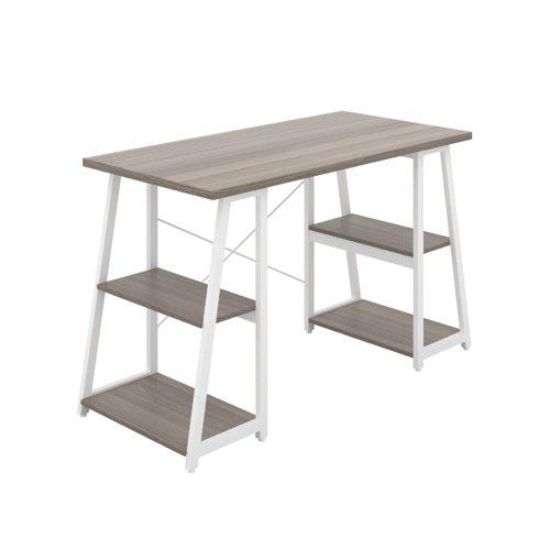 Jemini Soho Desk 4 Angled Shelves 1300x600x770mm Grey Oak/White KF90791
