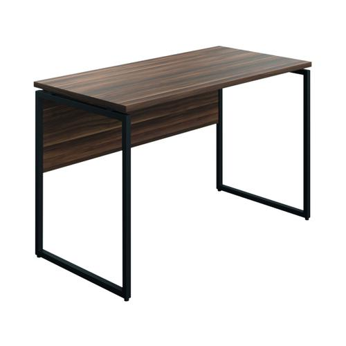 SOHO Computer Desk 1300mm Modesty Panel Walnut/Black Legs SOHODESK4