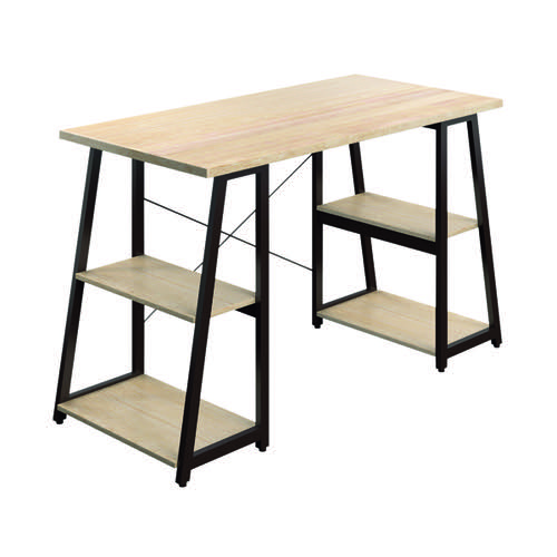 SOHO Computer Desk Oak 1300mm A-Frame Brown Leg Shelves SOHODESK5